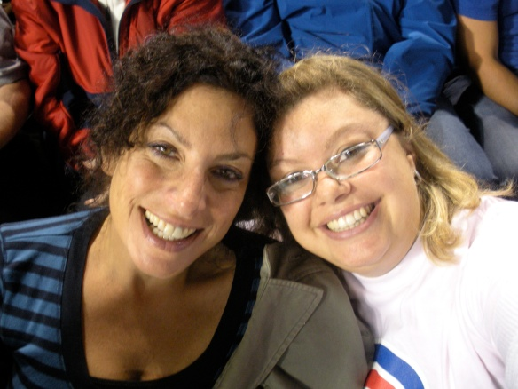 With my mom at a Cubs game