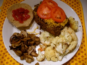 Accompanied by sauteed mushrooms and roasted cauliflower